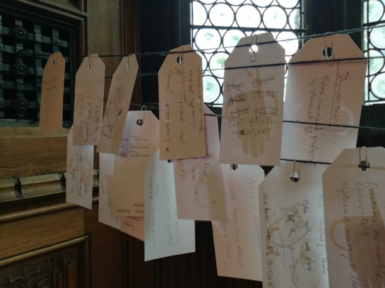 Image of response cards to the question 'which book will still be read in 350 years' time?'
