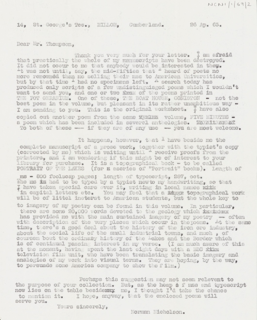 copy letter from N. Nicholson to Mr Thompson