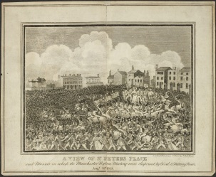 A view of St. Peters Place and manner in which the Manchester Reform meeting were dispersed by civil & military power. Augt. 16th. 1819. University of Manchester Library, Ref. R52983.2