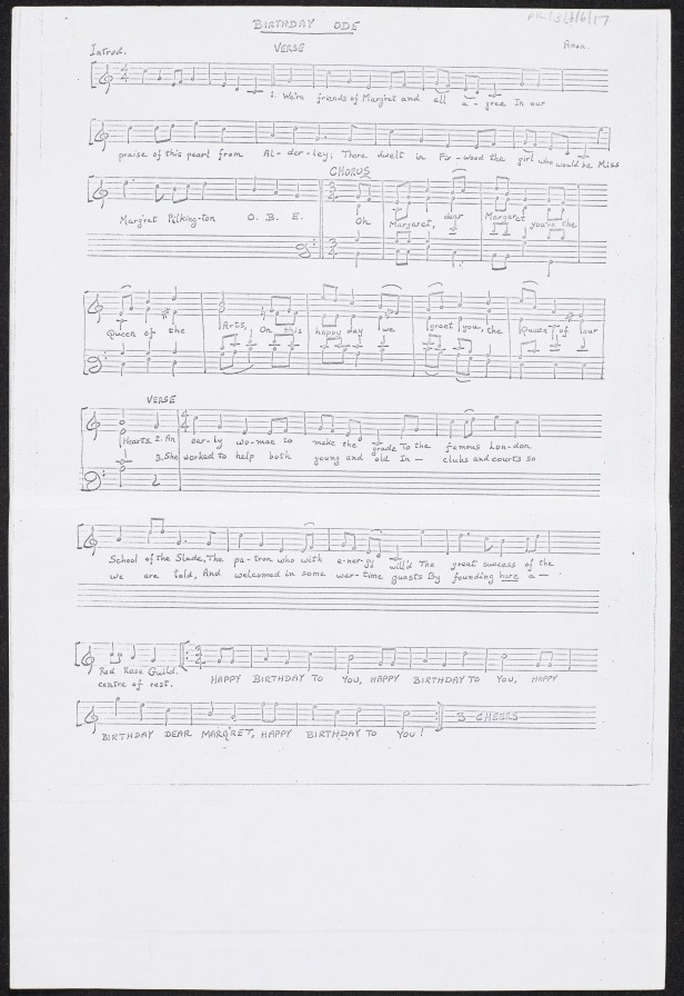 Birthday ode – musical score and words (two images), 1971. PIL/3/1/6/17
