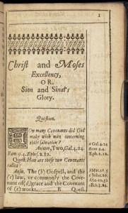 First page of Powell's 'Christ and Moses Excellency', 1650.